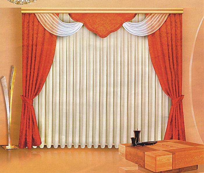 Комплект штор Zlata Korunka, на ленте, цвет: терракотовый, высота 250 см. Б061Б061Комплект штор Zlata Korunka, изготовленный из прочного полиэстера с жаккардовым переплетением, станет великолепным украшением любого окна. В набор входят две плотные шторы терракотового цвета, вуалевый белый тюль и регулируемый ламбрекен. Также для более изящного расположения штор на окне прилагаются подхваты. Ламбрекен и подхваты декорированы кисточками. Тюль и вуалевая часть ламбрекена оформлена атласной окантовкой. Комплект имеет изысканный внешний вид и обладает яркостью и сочностью цвета. Все предметы комплекта на шторной ленте для собирания в сборки. Жаккард - одна из дорогих тканей. Жаккардовые ткани очень прочны, долговечны и удобны в эксплуатации. Своеобразный рельефный рисунок, который получается в результате сложного плетения на плотной ткани, напоминает своего рода гобелен. Характеристики: Материал: 100% полиэстер (жаккард, вуаль). Цвет: терракотовый. Рекомендуемая длина карниза: 250-330 см. Размер упаковки: 30 см х 7 см х 42 см. ...
