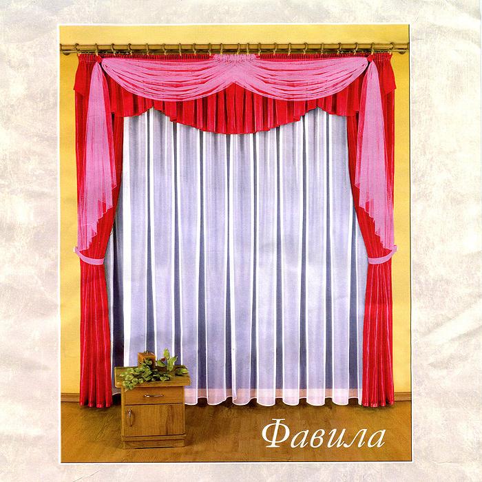 Комплект штор Фавила, на ленте, цвет: бордовый, розовый, высота 250 смБ0520Воздушный комплект штор Фавила, изготовленный из полиэстера, станет великолепным украшением любого окна. В набор входят две шторы бордового цвета, тюль и ламбрекен. Также для более изящного расположения штор на окне прилагаются подхваты. При подгибе изделий использовалась атласная тесьма. Комплект имеет изысканный внешний вид и обладает яркостью и сочностью цвета. Все предметы комплекта на шторной ленте для собирания в сборки.