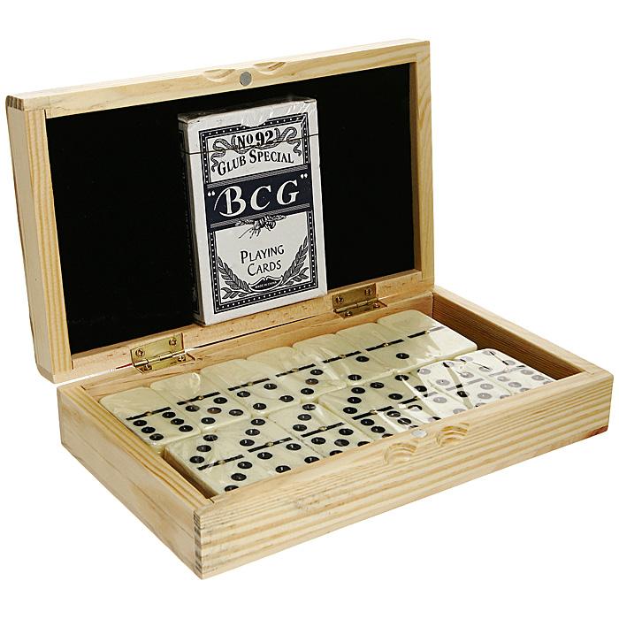 Подарочный набор домино и карты Perfecto, в деревянной шкатулке. DC-5010WDC-5010WПодарочный набор, состоящий из колоды игральных карт и домино, упакован в шкатулку из натурального дерева. Такой набор станет незаменим атрибутом любого отдыха и поможет вам весло провести время в любой компании!