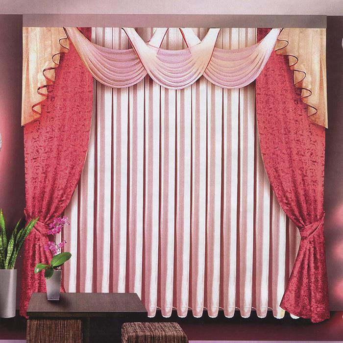 Комплект штор Zlata Korunka, на ленте, цвет: розовый, высота 250 смБ063Комплект штор Zlata Korunka, изготовленный из прочного полиэстера с жаккардовым переплетением и с добавлением серебристого люрекса, станет великолепным украшением любого окна. В набор входят две плотные шторы розового цвета, вуалевый белый тюль и регулируемый ламбрекен. Также для более изящного расположения штор на окне прилагаются подхваты. Комплект имеет изысканный внешний вид и обладает яркостью и сочностью цвета. Все предметы комплекта на шторной ленте для собирания в сборки. Жаккард - одна из дорогих тканей. Жаккардовые ткани очень прочны, долговечны и удобны в эксплуатации. Своеобразный рельефный рисунок, который получается в результате сложного плетения на плотной ткани, напоминает своего рода гобелен. Характеристики: Материал: 100% полиэстер (жаккард, вуаль). Цвет: розовый. Рекомендуемая длина карниза: 250-350 см. Размер упаковки: 30 см х 7 см х 42 см. Производитель: Польша. Изготовитель: Россия. Артикул: Б063. В...