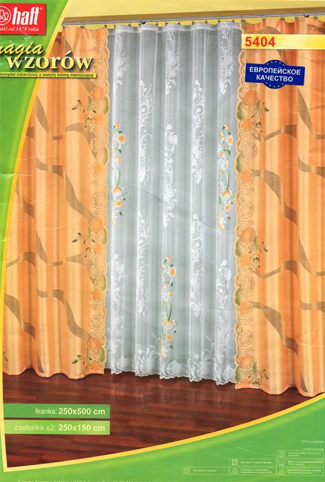 Комплект штор Zlata Korunka, на ленте, цвет: персиковый, белый, высота 250 см470359Комплект штор Zlata Korunka, выполненный из легкого полиэстера, великолепно украсит любое окно. Комплект состоит из тюля и двух штор, оформленных цветочными узорами. Тонкое плетение, оригинальное дизайн и нежная цветовая гамма привлекут внимание и органично впишутся в интерьер помещения. Все предметы комплекта оснащены шторной лентой для собирания в сборки.