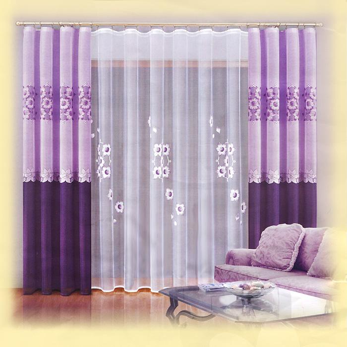 Комплект штор Zoe, на ленте, цвет: сиреневый, белый, высота 250 см737468Комплект штор Zoe великолепно украсит любое окно. Комплект состоит из тюля и двух штор, оформленных цветочным принтом. Шторы выполнены из плотного полиэстера сиреневого цвета, тюль - из легкого полиэстера белого цвета. Тонкое плетение и нежная цветовая гамма привлекут к себе внимание и органично впишутся в интерьер помещения. Все предметы комплекта оснащены шторной лентой для красивой сборки.
