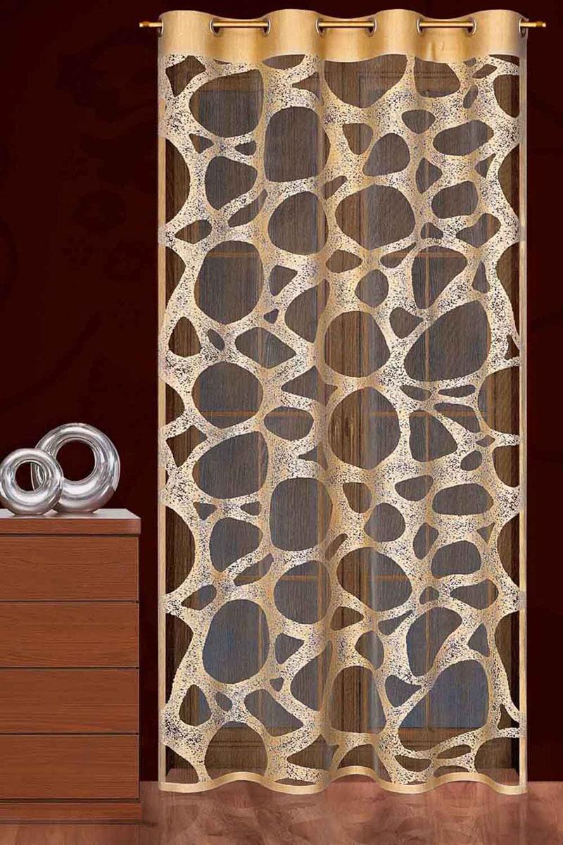 Гардина Piaskowiec, на люверсах, цвет: коричневый, высота 250 см749232Гардина Piaskowiec, выполненная из легкого полиэстера коричневого цвета, станет великолепным украшением любого окна и идеально подойдет к дизайну современных интерьеров. Тонкое плетение и оригинальное исполнение привлекут внимание и украсят интерьер помещения. Гардина оснащена люверсами для крепления на круглый карниз.