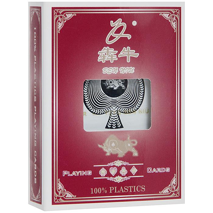 Карты игральные Ben Niu, 54 шт. BN-798BN-798Карты Ben Niu с увеличенным индексом и рубашкой синего цвета подходят для профессиональных игроков в покер и другие карточные игры. Они имеют очень гладкую поверхность, высококачественное пластиковое покрытие и стандартный покерный размер.
