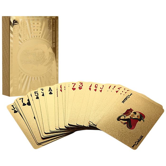 Карты игральные Perfecto Золотой доллар, 54 шт. GPC-02GPC-02Карты с рубашкой в виде Золотой доллар выполнены из пластика золотистого цвета с голографическим изображением. Они имеют очень гладкую поверхность, высококачественное пластиковое покрытие и покерный размер bridge. Подходят для игры в покер и другие карточные игры.