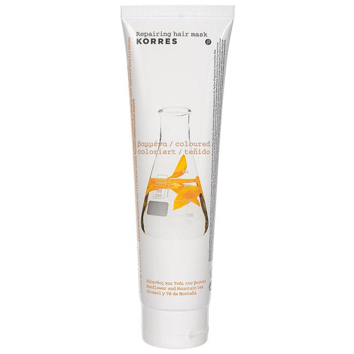Korres Маска для окрашенных волос, восстанавлявающая, с подсолнухом и гаультерией, 125 мл 5203069040504