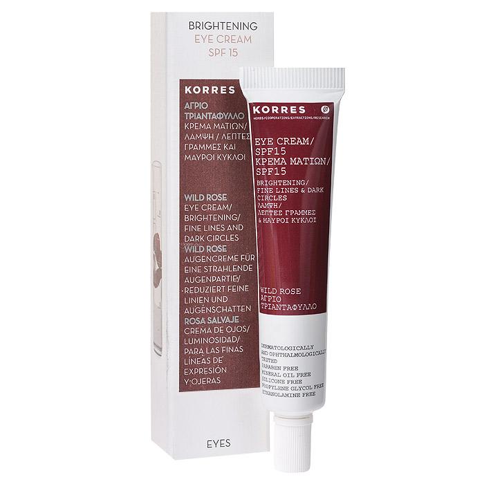 Korres Крем для глаз, против морщин и темных кругов, с дикой розой, SPF 15, 15 мл5203069045462Крем для глаз Korres против морщин и темных кругов предназначен для женщин старше 25 лет. Крем с легкой текстурой тонизирует и восстанавливает кожу в области глаз. Входящее в состав масло шиповника, являющееся натуральным источником витамина C, обладает исключительными регенерирующими свойствами, делает кожу гладкой, устраняет морщины и пигментацию. Фильтр SPF 15 обеспечивает защиту от фотостарения. Клинически проверенная эффективность. Товар сертифицирован.