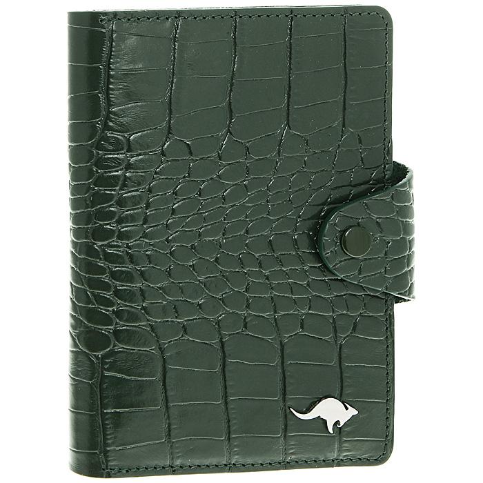 Обложка для автодокументов Cangurione, цвет: зеленый. 3305-009 KR/Green3305-009 KR/GreenОбложка для автодокументов Cangurione выполнена из натуральной кожи зеленого цвета с декоративным тиснением под крокодила. На внутреннем развороте - 4 кармашка для пластиковых и кредитных карт, потайное отделение, окошко для фотографии и два кармашка для документов. Обложка закрывается при помощи хлястика на кнопку. Обложка не только поможет сохранить внешний вид ваших документов и защитит их от повреждений, но и станет стильным аксессуаром, который подчеркнет ваш неповторимый стиль. Обложка упакована в коробку из плотного картона с логотипом фирмы. Характеристики: Материал: натуральная кожа, металл. Цвет: зеленый. Размер обложки: 10 см х 13,5 см. Размер упаковки: 11,5 см х 15,5 см х 2 см. Артикул: 3305-009 KR/Green.