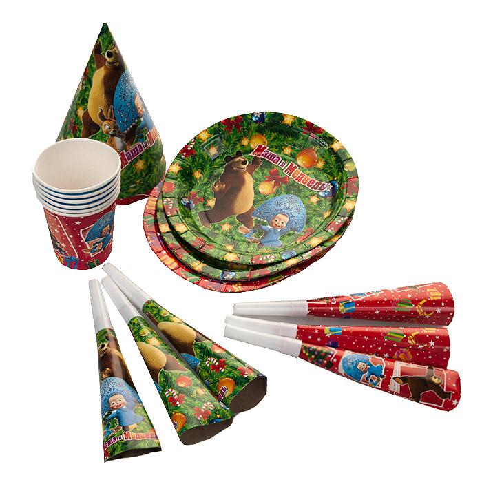 Набор одноразовой посуды и аксессуаров для праздника Маша и Медведь Новый год!, 24 предмета18804Превратить праздник в яркое событие легко с набором для праздника Маша и Медведь Новый год! Набор, рассчитанный на шесть персон, включает в себя 24 предмета: шесть тарелок, шесть стаканов, шесть бумажных колпачков и шесть карнавальных дудочек. Элементы набора оформлены красочными изображениями персонажей популярного мультфильма Маша и Медведь с новогодней тематикой.
