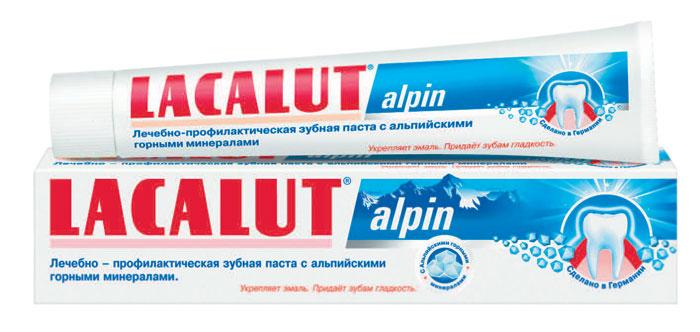 Lacalut Зубная паста Alpin, 75 мл159800704Зубная паста Lacalut Alpin с альпийскими горными минералами. Придает зубам ощутимую гладкость, препятствует образованию зубного налета. Нормализует слюноотделение и самоочищение полости рта. Характеристики: Объем: 75 мл. Артикул: 666109. Производитель: Германия. Товар сертифицирован.