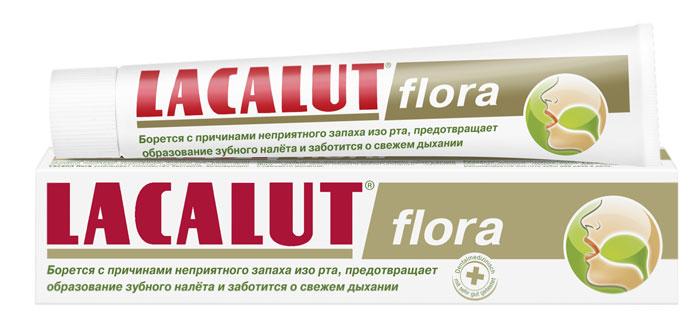 Lacalut Зубная паста Flora, 50 мл1598008505Зубная паста Lacalut Flora против неприятного запаха изо рта и сухости слизистой. За счет масла оливы и петрушки, радикально устраняет причину стойкого и неприятного запаха изо рта - бактерии. Витамин Е оказывает антиоксидантное действие. Активно увлажняет слизистую полости рта. Нормализует слюноотделение и кислотно-щелочной баланс. Характеристики: Объем: 50 мл. Артикул: 666122. Производитель: Германия. Товар сертифицирован.