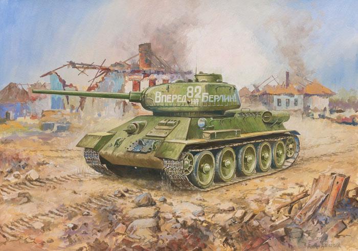 Сборная модель Советский средний танк Т-34/853533Сборная модель Советский средний танк Т-34/85 привлечет внимание не только ребенка, но и взрослого и позволит своими руками создать уменьшенную копию известного танка. Советский средний танк Т-34/85 - последняя модификация танка Т-34 1944 года лучшего среднего танка Второй мировой войны, оснащенного мощной 85-мм противотанковой пушкой, позволившей ему на равных бороться с новейшими немецкими танками. Эта машина принимала участие в тяжелейших боях за освобождение Европы и штурме Берлина. С незначительными переделками машины данного типа воевали во Вьетнаме, на Ближнем Востоке и на Территории бывшей Югославии.