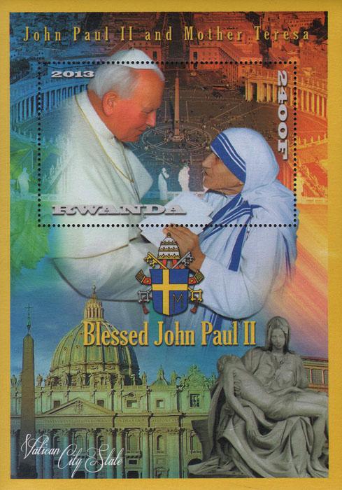 Почтовый блок Иоанн Павел II и Мать Тереза. Руанда. 2013 годL2070 EПочтовый блок Иоанн Павел II и Мать Тереза. Руанда. 2013 год. Размер блока 15,7 х 11,3 см. Размер марки 8 х 5 см. Сохранность хорошая.