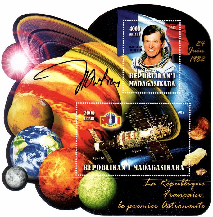 Почтовый блок Первый космонавт Франции. Мадагаскар. 2012 годL2070 EПочтовый блок Первый космонавт Франции. Мадагаскар. 2012 год. Размер блока 14,5 х 14,5 см. Размер марок 8 х 5 см, 5 х 4 см. Сохранность хорошая.