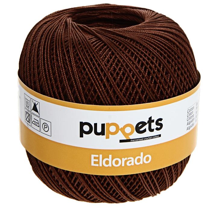Пряжа для вязания крючком Puppets Eldorado, цвет: шоколадный (07359), 265 м, 50 г4574010-07359Пряжа для вязания крючком Eldorado (Эльдорадо) нить кроше - это качественная нить с улучшенным внешним видом и расширенным ассортиментом для создания одежды и аксессуаров, а также изделий, которые украсят ваш дом. Пряжа для вязания Eldorado состоит из мерсеризированного хлопка. Мерсеризация - обработка пряжи крепким раствором щелочи под напряжением. Этот метод был разработан в первой половине XIX века английским химиком Джоном Мерсером. После такой обработки хлопковые волокна приобретают новые свойства: шелковистый блеск, мягкость, дополнительную прочность, на 25% повышается допустимое растягивающее усилие. Натуральный хлопок не имеет блеска. После мерсеризации его удается окрасить в любые яркие тона. Пряжа из хлопка является экологически чистой, так как производится из натурального материала.