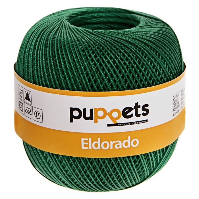 Пряжа для вязания крючком Puppets Eldorado, цвет: темно-зеленый (06332), 265 м, 50 г4574010-06332Пряжа для вязания крючком Eldorado (Эльдорадо) нить кроше - это качественная нить с улучшенным внешним видом и расширенным ассортиментом для создания одежды и аксессуаров, а также изделий, которые украсят ваш дом. Пряжа для вязания Eldorado состоит из мерсеризированного хлопка. Мерсеризация - обработка пряжи крепким раствором щелочи под напряжением. Этот метод был разработан в первой половине XIX века английским химиком Джоном Мерсером. После такой обработки хлопковые волокна приобретают новые свойства: шелковистый блеск, мягкость, дополнительную прочность, на 25% повышается допустимое растягивающее усилие. Натуральный хлопок не имеет блеска. После мерсеризации его удается окрасить в любые яркие тона. Пряжа из хлопка является экологически чистой, так как производится из натурального материала.