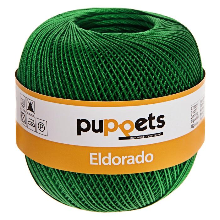 Пряжа для вязания крючком Puppets Eldorado, цвет: зеленый (07228), 265 м, 50 г4574010-07228Пряжа для вязания крючком Eldorado (Эльдорадо) нить кроше - это качественная нить с улучшенным внешним видом и расширенным ассортиментом для создания одежды и аксессуаров, а также изделий, которые украсят ваш дом. Пряжа для вязания Eldorado состоит из мерсеризированного хлопка. Мерсеризация - обработка пряжи крепким раствором щелочи под напряжением. Этот метод был разработан в первой половине XIX века английским химиком Джоном Мерсером. После такой обработки хлопковые волокна приобретают новые свойства: шелковистый блеск, мягкость, дополнительную прочность, на 25% повышается допустимое растягивающее усилие. Натуральный хлопок не имеет блеска. После мерсеризации его удается окрасить в любые яркие тона. Пряжа из хлопка является экологически чистой, так как производится из натурального материала.