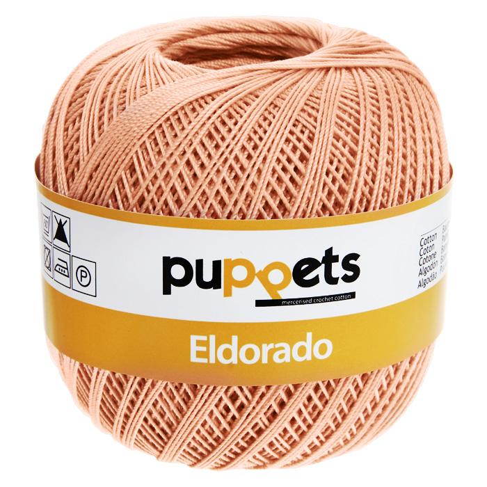 Пряжа для вязания крючком Puppets Eldorado, цвет: абрикосовый (08012), 265 м, 50 г4574010-08012Пряжа для вязания крючком Eldorado (Эльдорадо) нить кроше - это качественная нить с улучшенным внешним видом и расширенным ассортиментом для создания одежды и аксессуаров, а также изделий, которые украсят ваш дом. Пряжа для вязания Eldorado состоит из мерсеризированного хлопка. Мерсеризация - обработка пряжи крепким раствором щелочи под напряжением. Этот метод был разработан в первой половине XIX века английским химиком Джоном Мерсером. После такой обработки хлопковые волокна приобретают новые свойства: шелковистый блеск, мягкость, дополнительную прочность, на 25% повышается допустимое растягивающее усилие. Натуральный хлопок не имеет блеска. После мерсеризации его удается окрасить в любые яркие тона. Пряжа из хлопка является экологически чистой, так как производится из натурального материала.