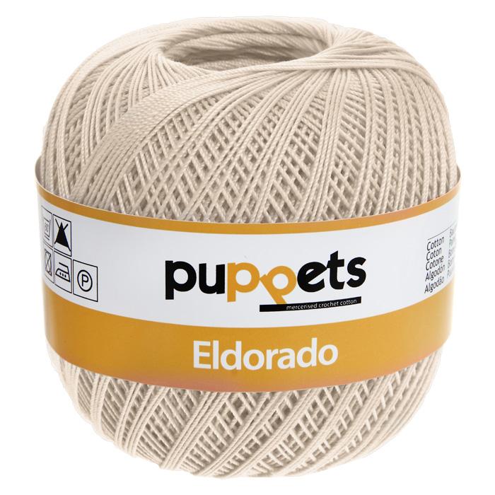 Пряжа для вязания крючком Puppets Eldorado, цвет: льняной (04269), 265 м, 50 г4574010-04269Пряжа для вязания крючком Eldorado (Эльдорадо) нить кроше - это качественная нить с улучшенным внешним видом и расширенным ассортиментом для создания одежды и аксессуаров, а также изделий, которые украсят ваш дом. Пряжа для вязания Eldorado состоит из мерсеризированного хлопка. Мерсеризация - обработка пряжи крепким раствором щелочи под напряжением. Этот метод был разработан в первой половине XIX века английским химиком Джоном Мерсером. После такой обработки хлопковые волокна приобретают новые свойства: шелковистый блеск, мягкость, дополнительную прочность, на 25% повышается допустимое растягивающее усилие. Натуральный хлопок не имеет блеска. После мерсеризации его удается окрасить в любые яркие тона. Пряжа из хлопка является экологически чистой, так как производится из натурального материала.