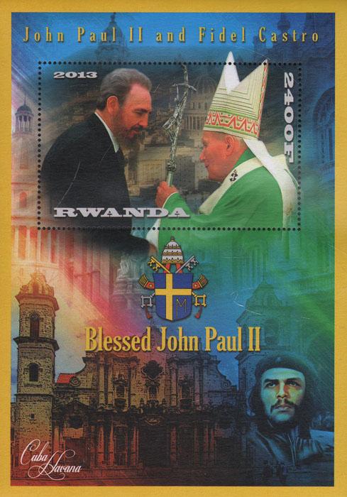 Почтовый блок Иоанн Павел II и Фидель Кастро. Руанда. 2013 годL2070 EПочтовый блок Иоанн Павел II и Фидель Кастро. Руанда. 2013 год. Размер блока 15,7 х 11,3 см. Размер марки 8 х 5 см. Сохранность хорошая.