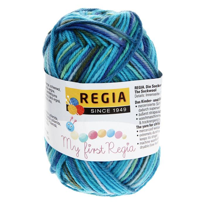 Детская пряжа для вязания My First Regia, цвет: Marco color / голубой, зеленый, синий (01819), 105 м, 25 г
