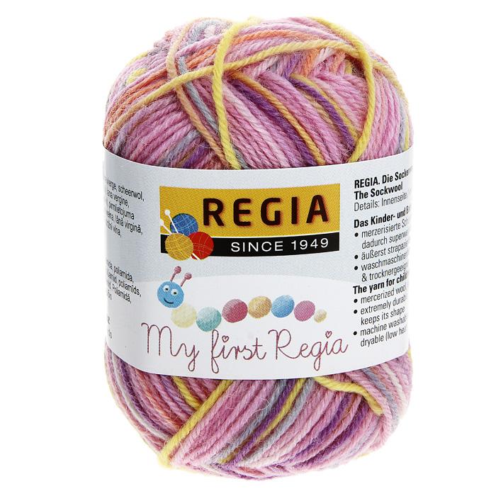 Детская пряжа для вязания My First Regia, цвет: Lea color / желтый, светло-розовый, светло-серый (01815), 105 м, 25 г