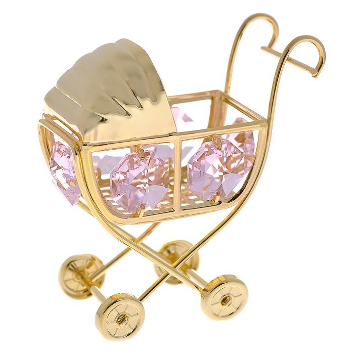 Декоративная фигурка Детская коляска, цвет: золотистый, розовый. 278484278484Декоративная фигурка выполнена из золотистого металла в виде коляски, инкрустированной розовыми кристаллами Swarovski. Фигурка будет вас радовать и достойно украсит интерьер вашего дома. Вы можете поставить украшение в любом месте, где оно будет удачно смотреться и радовать глаз. Кроме того, эта фигурка - отличный вариант подарка для ваших близких и друзей. Характеристики: Материал: металл, кристаллы Swarovski. Размер фигурки: 5,5 см х 6 см х 3,5 см. Цвет: золотистый, розовый. Размер упаковки: 5,5 см х 9 см х 4,5 см. Артикул: 278484.