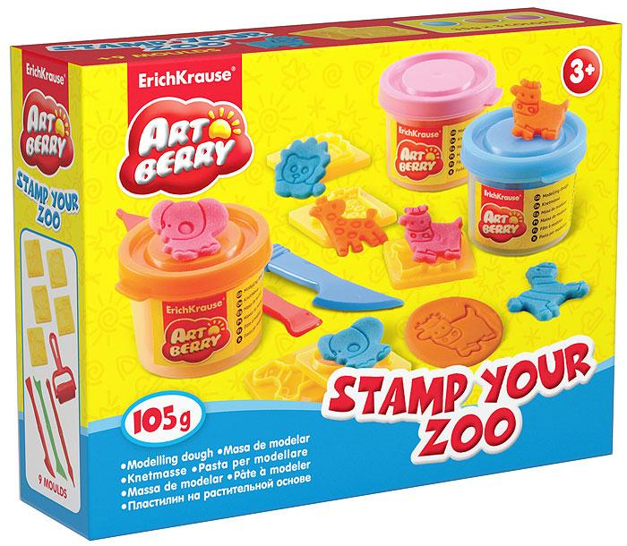 Набор для лепки Stamp Your Zoo, 12 предметов30371Набор для лепки Stamp Your Zoo предназначен для лепки и моделирования. Пластилин на растительной основе обладает отличными пластичными свойствами, быстро размягчается, хорошо держит форму и не липнет к рукам. Легко отмывается с рук и отстирывается от одежды. В наборе пластилин трех цветов: голубого, оранжевого и розового, пять пресс-формочек с изображением животных, три стека и валик. Каждый брусочек пластилина упакован в пластиковую баночку с крышкой, цвет которой соответствуют цвету пластилина. Занятия лепкой помогут ребенку развить творческие способности, воображение, мелкую моторику рук и сенсорное восприятие.