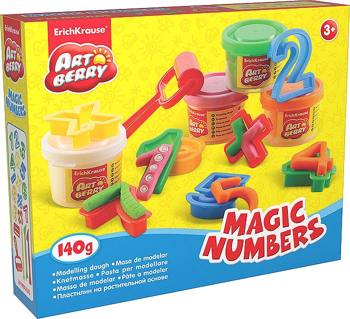 Набор для лепки Magic Numbers, 23 предмета30374Набор для лепки Magic Numbers предназначен для лепки и моделирования. Пластилин на растительной основе обладает отличными пластичными свойствами, быстро размягчается, хорошо держит форму и не липнет к рукам. Легко отмывается с рук и отстирывается от одежды. В наборе пластилин четырех цветов: белого, зеленого, розового и оранжевого, пятнадцать формочек в виде цифр и математических знаков, три стека и ролик. Каждый брусочек пластилина упакован в пластиковую баночку с крышкой, цвет которой соответствуют цвету пластилина. Занятия лепкой помогут ребенку развить творческие способности, воображение, мелкую моторику рук и сенсорное восприятие.