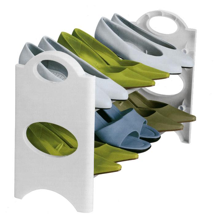 Полка для обуви 6-Pair Stackable, двухъярусная11020011-00101Двухъярусная полка 6-Pair Stackable, изготовленная из высококачественного пластика белого цвета, предназначена для хранения обуви. Полка легко собирается без применения специальных инструментов. Планки выполнены с нескользящим напылением, высоту и угол которых можно регулировать. Благодаря компактным размерам полка впишется в интерьер вашей прихожей комнаты и позволит вам удобно, практично хранить обувь.