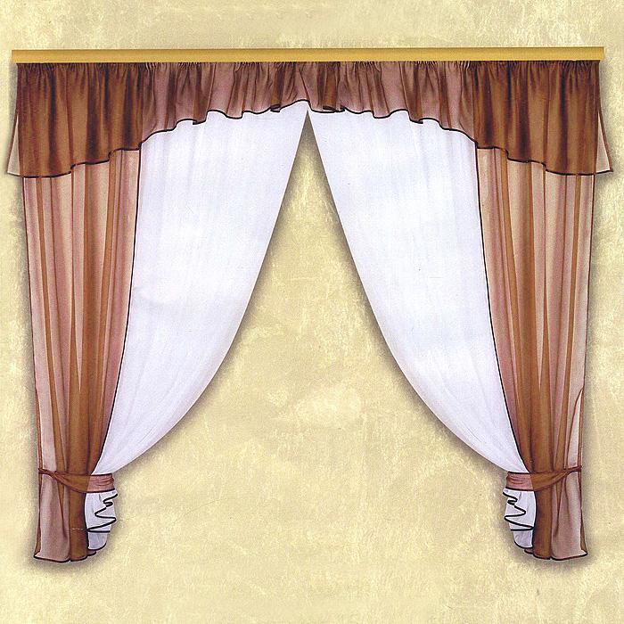 Комплект штор Licynia, цвет: бордо, высота 180 смБ0592Комплект штор Licynia, изготовленный из полиэстера бордового цвета, органично впишется в интерьер комнаты. В набор входят две легкие шторы и ламбрекен. Также для более изящного расположения штор на окне прилагаются подхваты. Все элементы комплекта шиты на тесьме для собирания в сборки.