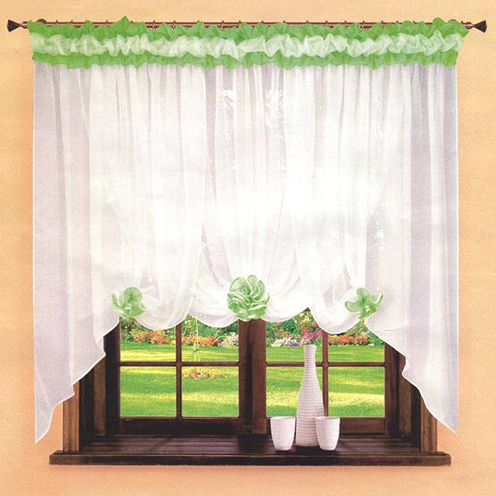 Гардина Zlata Korunka, на ленте, цвет: белый, салатовый, высота 160 смБ 009Воздушная гардина Zlata Korunka, изготовленная из легкого полиэстера, станет великолепным украшением любого окна. По верху гардина украшена воздушными салатовыми складками, по низу – салатовым атласным кантом. Для более изящного вида прилагаются 3 ленты салатового цвета, с помощью которых можно сделать цветы из ткани гардины. Оригинальный дизайн и приятная цветовая гамма привлекут к себе внимание и органично впишутся в интерьер комнаты. В гардину вшита шторная лента. Характеристики: Материал: 100% полиэстер. Цвет: белый, салатовый. Размер упаковки: 26 см х 2 см х 38 см. Производитель: Польша. Изготовитель: Россия. Артикул: Б 009. В комплект входит: Гардинв - 1 шт. Размер (ШхВ): 360 см х 160 см. УВАЖАЕМЫЕ КЛИЕНТЫ! Обращаем ваше внимание на цвет изделия. Цветовой вариант комплекта, данного в интерьере, служит для визуального восприятия товара. Цветовая гамма данного комплекта представлена на...