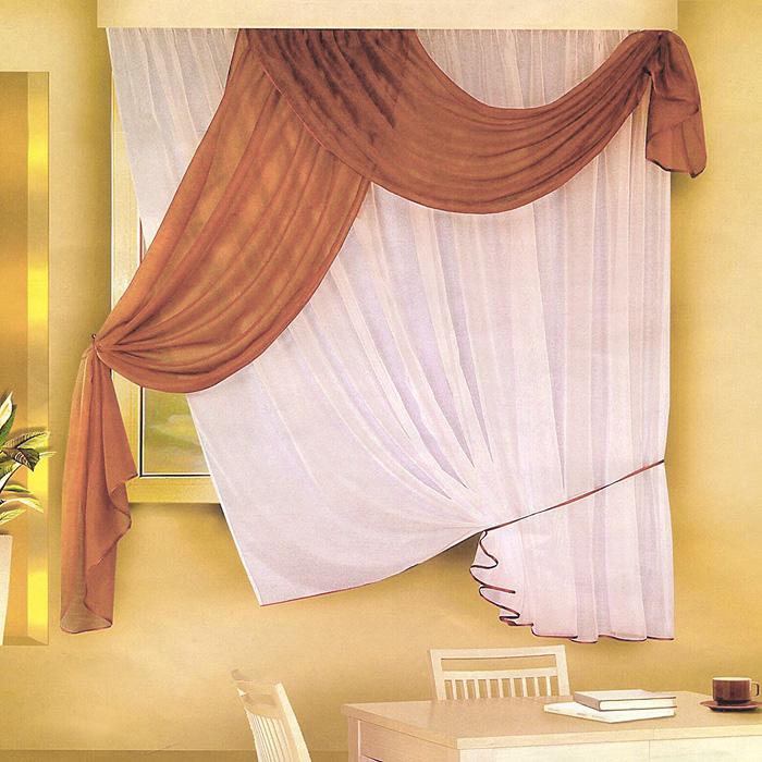 Комплект штор для кухни Zlata Korunka, на ленте, цвет: белый, коричневый, высота 170 смБ066Комплект штор Zlata Korunka, изготовленные из легкого полиэстера, станут великолепным украшением кухонного окна. Оригинальный дизайн и приятная цветовая гамма привлекут к себе внимание и органично впишутся в интерьер. В набор входят две тюли и ламбрекен коричневого цвета. Для более изящного расположения тюли на окне прилагается подхват. Все элементы комплекта на шторной ленте для собирания в сборки.
