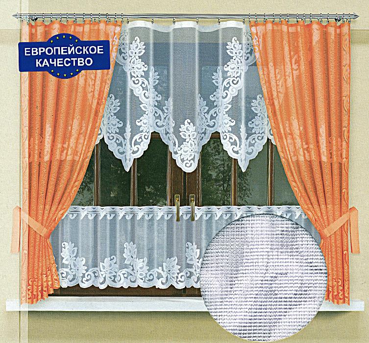 Комплект штор для кухни Zlata Korunka, на ленте, цвет: белый, оранжевый, высота 170 см. 587682587682Комплект штор Zlata Korunka станет великолепным украшением кухонного окна. В набор входит тюль, две шторы, ламбрекен. Для более изящного расположения штор на окне прилагаются подхваты. Шторы изготовлены из плотного полиэстера оранжевого цвета. Тюль и ламбрекен выполнены из легкого полиэстера белого цвета. По верхнему краю с внутренней стороны шторы отделаны плотной защитной лентой с нитями внутри. Благодаря этому шторы можно повесить как на зажимы (и ткань не повредится), так и на крючки. Характеристики: Материал: 100% полиэстер. Цвет: белый, оранжевый. Размер упаковки: 28 см х 35 см х 7 см. Артикул: 587682. В комплект входит: Тюль - 1 шт. Размер (ШхВ): 300 см х 90 см. Штора - 2 шт. Размер (ШхВ): 145 см х 170 см. Ламбрекен - 1 шт. Размер (ШхВ): 300 см х 45 см. Подхват: 2 шт.