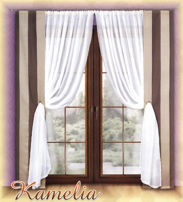 Комплект штор Kamelia, на ленте, цвет: белый, коричневый, бежевый, высота 250 см720972Комплект штор Kamelia станет великолепным украшением любого окна. В набор входят две шторы и две занавески. Для более изящного расположения на шторах предусмотрены люверсы (кольца), куда продеваются занавески. Шторы изготовлены из плотного полиэстера с принтом в вертикальную полоску кофейных оттенков. Вуалевые занавески выполнены из легкого и воздушного полиэстера белого цвета. Все предметы комплекта оснащены шторной лентой для красивой сборки.