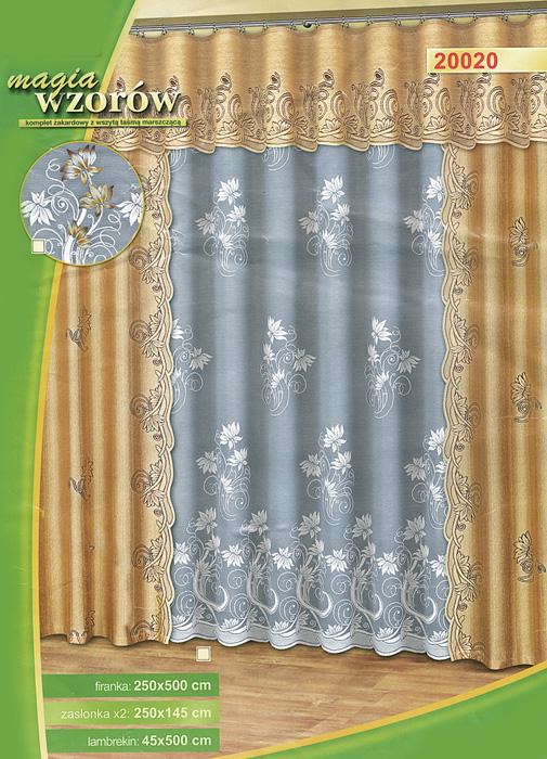 Комплект штор Haft, на ленте, цвет: белый, песочный, высота 250 см530930Комплект штор Haft, изготовленный из полиэстера, органично впишется в интерьер любой комнаты. В набор входят две шторы, тюль и ламбрекен. Тонкое плетение, оригинальный дизайн привлекут к себе внимание и органично впишутся в интерьер. Все элементы комплекта на шторной ленте для собирания в сборки. Характеристики: Материал: 100% полиэстер. Цвет: белый, песочный. Размер упаковки: 38 см х 6 см х 59 см. Артикул: 530930. В комплект входит: Штора - 2 шт. Размер (ШхВ): 145 см х 250 см. Тюль - 1 шт. Размер (ШхВ): 500 см х 250 см. Ламбрекен - 1 шт. Размер (ШхВ): 500 см х 45 см. УВАЖАЕМЫЕ КЛИЕНТЫ! Обращаем ваше внимание на цвет изделия. Цветовой вариант комплекта, данного в интерьере, служит для визуального восприятия товара. Цветовая гамма данного комплекта представлена на отдельном изображении фрагментом ткани.