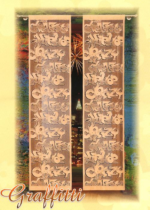 Гардина-панно Graffitti, на кулиске, цвет: кофейный, высота 230 см724215Воздушная гардина-панно Graffitti, изготовленная из полиэстера кофейного цвета, станет великолепным украшением любого окна. Оригинальный принт в виде граффити и приятная цветовая гамма привлекут к себе внимание и органично впишутся в интерьер комнаты. Гардина оснащена кулиской для крепления на круглый карниз. Характеристики: Материал: 100% полиэстер. Размер упаковки: 27 см х 34 см х 2 см. Артикул: 724215. В комплект входит: Гардина-панно - 1 шт. Размер (Ш х В): 50 см х 230 см. Фирма Wisan на польском рынке существует уже более пятидесяти лет и является одной из лучших польских фабрик по производству штор и тканей. Ассортимент фирмы представлен готовыми комплектами штор для гостиной, детской, кухни, а также текстилем для кухни (скатерти, салфетки, дорожки, кухонные занавески). Модельный ряд отличает оригинальный дизайн, высокое качество. Ассортимент продукции постоянно пополняется.