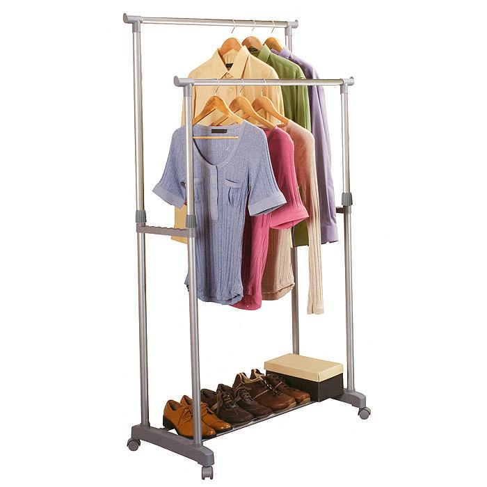 Вешалка для одежды Double Hang Heavy Duty, напольная14010056-00302Напольная вешалка для одежды Double Hang Heavy Duty изготовлена из высокопрочной окрашенной стали. Вешалка в два ряда позволит вам сэкономить полезное пространство в вашей прихожей или комнате. Высоту вешалки можно регулировать (от 97 см до 170 см). Наличие небольших колесиков в основании вешалки позволяет легко перемещать ее вместе с одеждой. Нижняя полка вмещает до 6 пар обуви. Такая вешалка для одежды отличается практичностью и удобством в использовании.