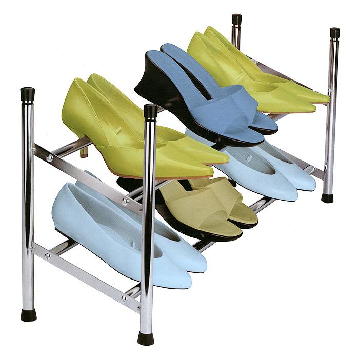 Полка-трансформер для обуви Chrome Shoe Rack, двухъярусная11020003-00102Двухъярусная полка Chrome Shoe Rack, изготовленная из хромированного металла, предназначена для хранения обуви. Ширину полки можно увеличить в два раза, за счет выдвижных планок (от 63 см до 116 см). На стойках имеются небольшие мягкие пластиковые накладки, благодаря которым полка не будет оставлять царапины на гладкой поверхности. Благодаря своим размерам полка впишется в интерьер вашей прихожей комнаты и позволит вам удобно, практично хранить обувь. Характеристики: Материал: металл, пластик. Цвет: серебристый. Размер полки (ШхДхВ): 63-116 см х 22,5 см х 35,5 см. Максимальная нагрузка каждого яруса: 3 кг. Размер упаковки: 72 см х 24 см х 3,5 см. Артикул: 11020003-00101.