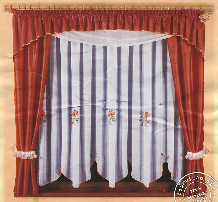 Комплект штор для кухни Yaga, на ленте, цвет: белый, кирпично-красный, высота 180 см636266Комплект штор Yaga, изготовленный из прочного и легкого полиэстера, органично впишется в интерьер кухонной комнаты. В набор входят две шторы кирпично-красного цвета, тюль с цветочным рисунком и ламбрекен. Также для более изящного расположения штор на окне прилагаются подхваты. Все элементы комплекта сшиты на универсальной шторной ленте.
