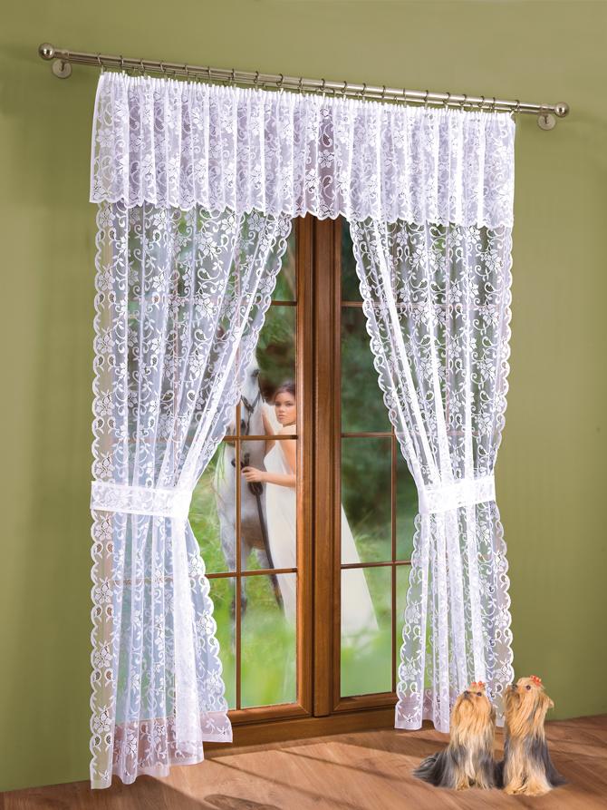 Комплект штор Aliena, на ленте, цвет: белый, высота 250 см735471Комплект штор Zlata Korunka, изготовленные из полиэстера белого цвета, станут великолепным украшением любого окна или дверного проема. Тонкое плетение, оригинальный дизайн привлекут к себе внимание и органично впишутся в интерьер. В набор входят две шторы и ламбрекен. Также для более изящного расположения штор на окне прилагаются подхваты. Все элементы комплекта на шторной ленте для собирания в сборки.