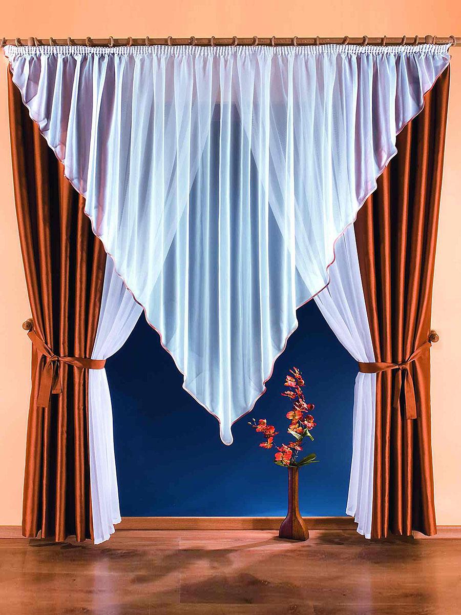 Комплект штор Marietta, на ленте, цвет: белый, коричневый, высота 250 см746095Комплект штор Marietta станет великолепным украшением любого окна или дверного проема. В набор входят две шторы, ламбрекен треугольной формы и две занавески. Для более изящного расположения штор и занавесок на окне или дверном проеме прилагаются подхваты. Шторы изготовлены из плотного полиэстера коричневого цвета с блестящим отливом. Вуалевые занавески и ламбрекен выполнены из легкого и воздушного полиэстера белого цвета. Все элементы комплекта на шторной ленте для собирания в сборки. Характеристики: Материал: 100% полиэстер. Цвет: белый, коричневый. Размер упаковки: 32 см х 8 см х 40 см. Артикул: 746095. В комплект входит: Штора - 2 шт. Размер (ШхВ): 150 см х 250 см. Ламбрекен - 1 шт. Размер (ШхВ): 500 см х 200 см. Занавеска - 2 шт. Размер (ШхВ): 140 см х 250 см. Прихват - 2 шт. Фирма Wisan на польском рынке существует уже более пятидесяти лет и является одной из лучших польских фабрик по производству штор...