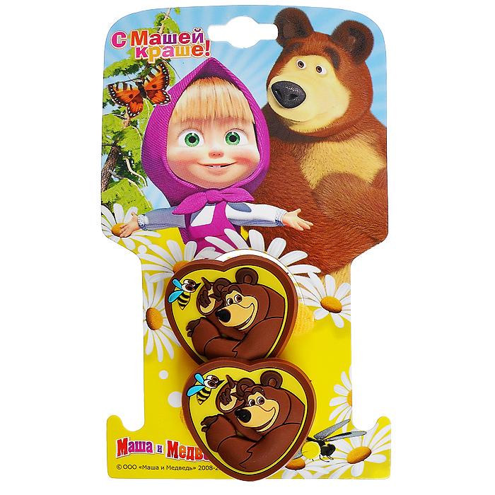 Резинка для волос Маша и медведь Сердечко. Миша, 2 шт338843Резинка для волос Маша и медведь Сердечко. Миша позволит украсить прическу вашей малышки и доставит ей много удовольствия. Текстильная резиночка желтого цвета оформлена декоративным элементом в виде сердечка с изображением Мишки - героя популярного мультсериала Маша и медведь. Комплект включает две резинки. Порадуйте свою юную модницу таким великолепным подарком!