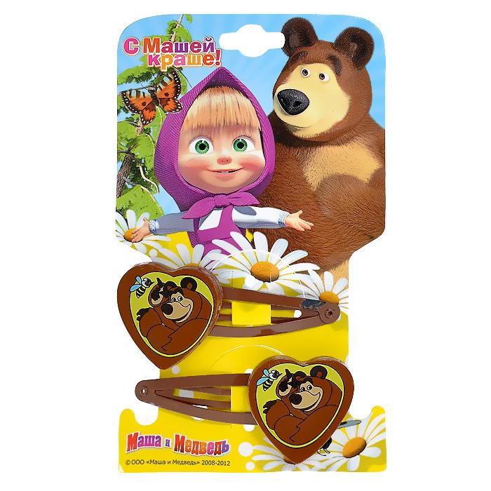 Заколка для волос Маша и медведь Сердечко. Миша, 2 шт332973Заколка для волос Маша и медведь Сердечко. Миша подчеркнет красоту прически вашей маленькой принцессы. Заколочка выполнена из металла и оформлена декоративным элементом в виде сердечка с изображением Мишки, героя популярного мультсериала Маша и медведь. В комплект входят две заколки. Порадуйте свою малышку таким замечательным подарком!