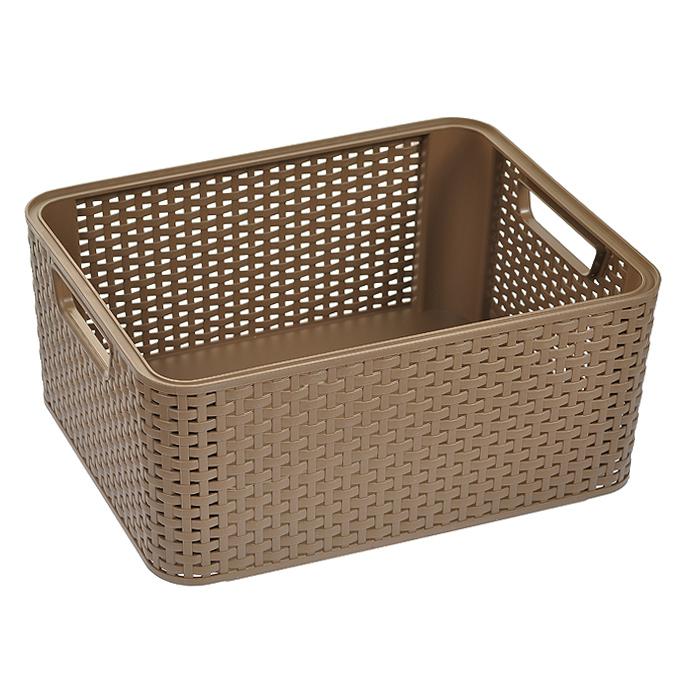 Корзинка Natural Style, цвет: коричневый, 18 л03615-213Прямоугольная корзинка Natural Style, изготовленная из пластика коричневого цвета, предназначена для хранения мелочей в ванной, на кухне, на даче или в гараже. Позволяет хранить мелкие вещи, исключая возможность их потери. Легкая корзина со сплошным дном и жесткой кромкой. Корзинка оснащена удобными ручками и специальными выемками внизу и вверху, позволяющие устанавливать корзины друг на друга.