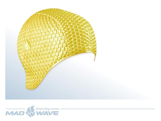 Шапочка для плавания MadWave Bubble, женская, цвет: желтыйM0514 01 0 06WЛатексная шапочка для плавания MadWave Bubble. Имеет превосходную эластичность и высокий уровень комфорта. Высококачественный материал обеспечивает долгий срок службы. Пузырьковая поверхность уменьшает площадь соприкосновения с волосами. Характеристики: Материал: латекс. Размер шапочки: 22 см x 21 см. Производитель: Китай. Артикул: M0514 01 0 06W.