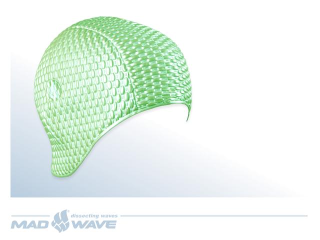 Шапочка для плавания MadWave Bubble, женская, цвет: зеленыйM0514 01 0 10WЛатексная шапочка для плавания MadWave Bubble. Имеет превосходную эластичность и высокий уровень комфорта. Высококачественный материал обеспечивает долгий срок службы. Пузырьковая поверхность уменьшает площадь соприкосновения с волосами. Характеристики: Материал: латекс. Размер шапочки: 22 см x 21 см. Производитель: Китай. Артикул: M0514 01 0 10W.
