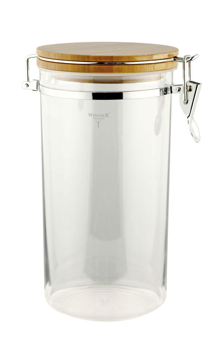 Контейнер для сыпучих продуктов Winner, 2,2 лWR-6902Контейнер Winner, выполненный из пищевого пластика, станет незаменимым помощником на кухне. В нем будет удобно хранить разнообразные сыпучие продукты, такие как кофе, крупы, макароны или специи. Контейнер снабжен герметичной бамбуковой крышкой с силиконовым уплотнителем и клипсой-защелкой. Контейнер Winner станет достойным дополнением к кухонному инвентарю. Характеристики: Материал: пластик, бамбук, силикон, металл. Диаметр контейнера по верхнему краю: 12,5 см. Высота контейнера (без учета крышки): 23 см. Высота контейнера (с учетом крышки): 24,7 см. Объем контейнера: 2,2 л. Размер упаковки: 13,5 см х 13,5 см х 25 см. Производитель: Германия. Изготовитель: Китай. Артикул: WR-6902.