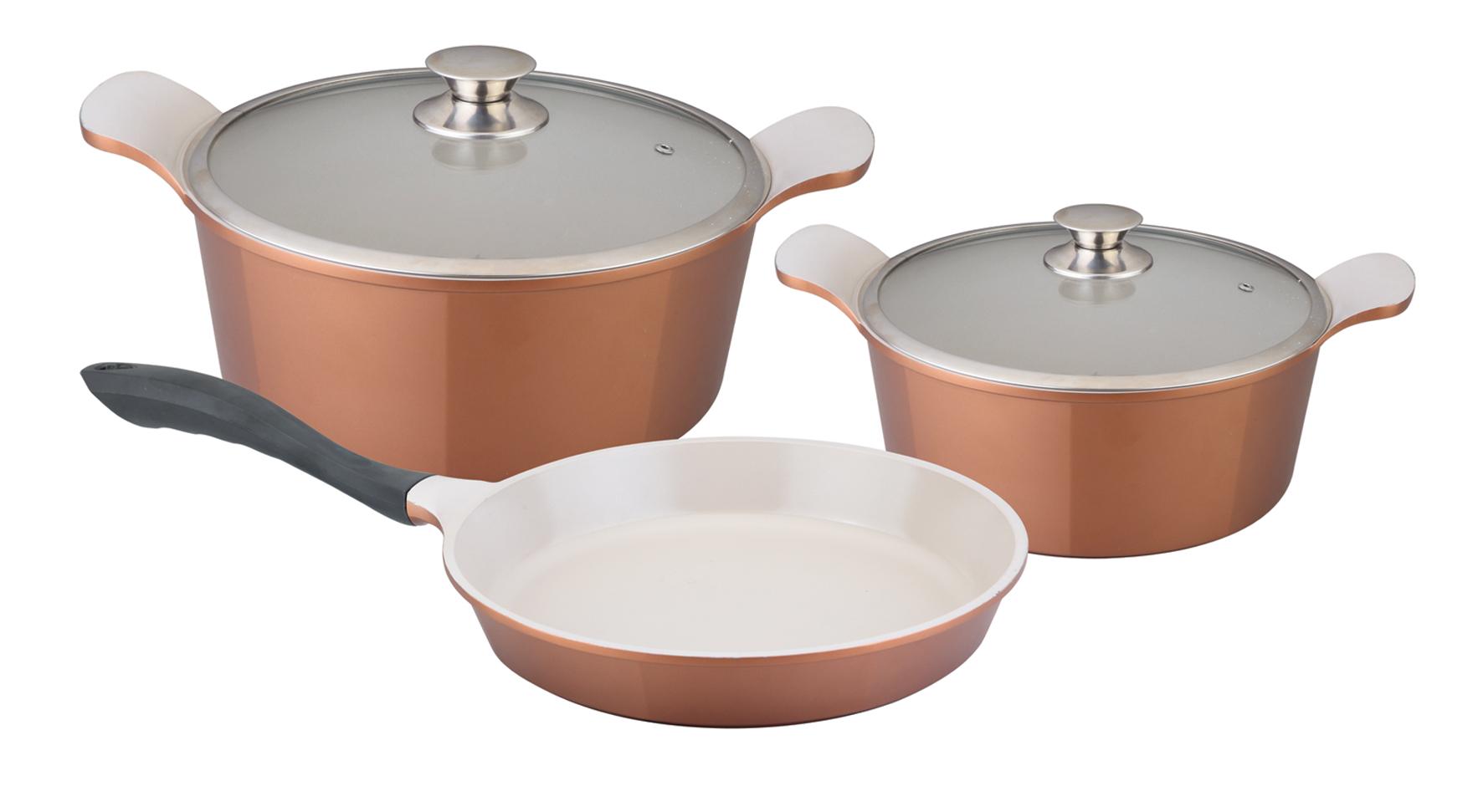 Набор посуды Winner, 5 предметов. WR-1301WR-1301В набор посуды Winner входят: 2 кастрюли с крышками и сковорода. Предметы набора выполнены из высококачественного литого алюминия с антипригарным керамическим нанопокрытием Ceralon. Посуда с нанопокрытием обладает высокой прочностью, жаро-, износо-, коррозийной стойкостью, химической инертностью. При нагревании до высоких температур не выделяет и не впитывает в себя вредных для человека химических соединений. Нанопокрытие гарантирует быстрый и равномерный нагрев посуды и существенную экономию электроэнергии. Данная технология позволяет исключить деформацию корпуса при частом и длительном использовании посуды. Посуда имеет внешнее цветное жаропрочное силиконовое покрытие. Крышки, выполненные из термостойкого стекла, позволят вам следить за процессом приготовления пищи. Крышки плотно прилегают к краям посуды, предотвращая проливание жидкости и сохраняя аромат блюд. Изделия подходят для использования на всех типах плит, включая индукционные. Можно мыть в...