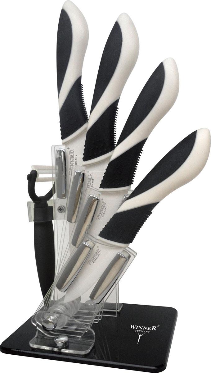 Набор керамических ножей Winner, 6 предметов. WR-7316WR-7316Набор Winner состоит из 4 кухонных ножей, выполненных из циркониевой керамики (диоксид циркония). Уникальная японская технология затачивания лезвия в 3 этапа позволяет в течение 5 лет сохранить остроту без заточки при правильном использовании. Эргономичная рукоятка выполнена из ABS-пластика с внешним силиконовым покрытием Soft Touch черного цвета. Рукоятка не скользит в руках и делает резку удобной и безопасной. Такой набор ножей подойдет для нарезки любых овощей, мяса, рыбы и других продуктов. Ножи не оставляют послевкусия. Не вступают в химическую реакцию с продуктами, не придают продуктам металлический вкус и запах, исключено прилипание продуктов. Предметы набора компактно размещаются в стильной подставке, которая выполнена из высококачественного пластика. Набор включает в себя: Нож поварской - гибкость у окончания клинка позволяет нарезать; утолщенное основание клинка позволяет рубить мясо, рыбу, овощи и фрукты. Плоской поверхностью клинка можно давить...